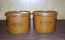 TUPPERWARE BROWN COFFEE AND TEA CANISTER SET