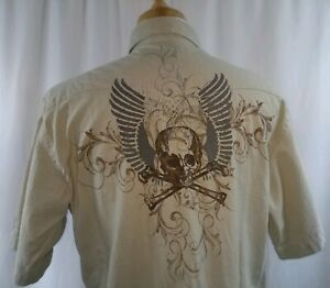 Roper Mens XL Pearl Snap Western Rockabilly Skull S/S Tan With Brown Snaps NWT