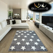 AMAZING THICK MODERN RUGS SKETCH Stars GREY WHITE FA68 X SIZE BEST-CARPETS