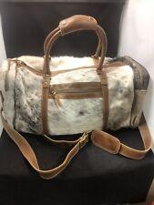 "Myra Bag ""Amore"" Hairon Cowhide Leather 24"" Duffle Travel Bag S-1122 EUC"