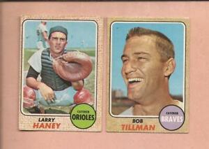 1968  OPC  2 Catchers: # 42  LARRY HANEY + # 174  BOB TILLMAN   medium grade
