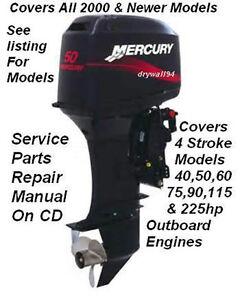 Mercury Outboard 40,50,60,75,90,115,225EFI 4 Stroke OEM Factory Repair Manual CD