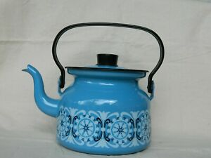 Vintage Finel Blue Enamel Tea Pot Made In Finland