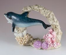 "Dolphin Swimming Through Faux Coral Figurine 6.5"" Long Resin Statue New!"