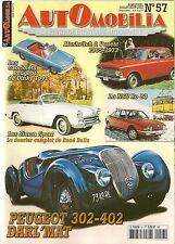 AUTOMOBILIA 57 PEUGEOT 302 402 DARLMAT SIMCA SPORT 1952 62 NSU RO80 MOSKVITCH