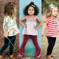Infant Kids Baby Girl Bell Bottom Gold Velvet Pants Flare Trouser Clothes Autumn