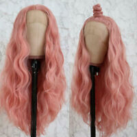"24"" GlueLess Lace Front Wig Wavy Long Smoke Pink Cosplay Heat Safe Fiber Hair"
