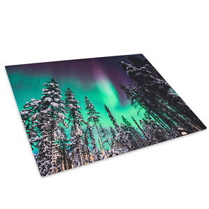 Northern Lights Snow Green Glass Chopping Board Kitchen Worktop Saver Protector
