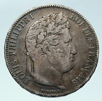 1840 FRANCE King Louis Philippe I French Antique OLD Silver 5 Francs Coin i86430