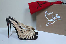New sz 9.5 / 40 Christian Louboutin Twist Front Raffia Mule Black Sandal Shoes