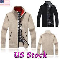 US Men's Sweater Winter Warm Thicken Zipper Pullover Sweater Casual Fleece Coat