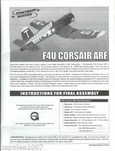 """Sportsman Aviation 58""""  F4U Corsair ARF 48-page Assembly Instructions Booklet"""