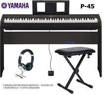 YAMAHA P45 BK PIANO DIGITALE 88 TASTI PESATI KIT CON STAND L85 + PANCA + CUFFIA