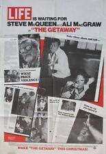 THE GETAWAY STEVE MCQUEEN PECKINPAH ADVANCE 1972 1SHT