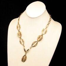 PARK LANE Vintage Necklace Chunky Flowers Pendant Dangle Fancy Oval Links