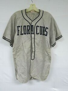 Vintage 50s Wool Baseball Jersey WILSONS Flora Motel Cubs Varsity Sport Uniform