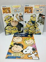 PEANUTS & DESPICABLE ME STICKER/COLORING ACTIVITY BOOKS,  3 COLORING BOOKS/