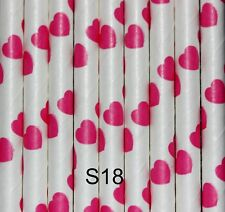Love Heart Straws, Biodegradable Pink and White, Valentines, Celebration,25 pack