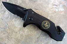Masonic Knife S&C Shield Small Black Spring Assist Pocket Freemason Mason