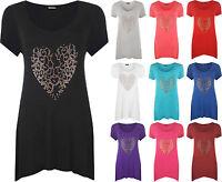 Womens Plus Size Gold Animal Heart Hanky Hem Ladies Short Sleeve Long Top 14- 28