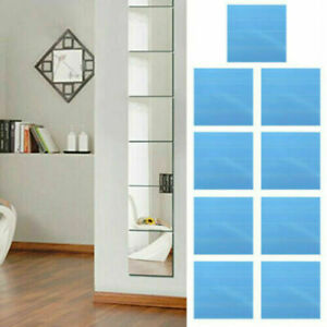 16Pcs Glass Mirror Tiles Wall Sticker Square Self Adhesive Stick On DIY Home *