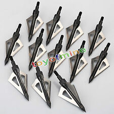 12Pcs Hunting Broadheads 100 Grain 3 Blade Broad Arrow Heads Arrows Screw Tips