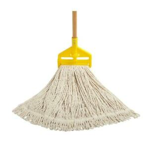 Rubbermaid Looped End String Mop Commercial Residential Wood Handle Yellow #24