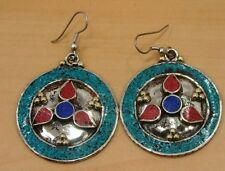 BEAUTIFUL 925 TIBETAN SILVER TURQUOISE,RED CORAL,LAPIS LAZULI  HOOK EARRINGS