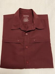 Kathmandu Men's Maroon Polyester Short Sleeve Hiking Button Up Shirt ~ Size L