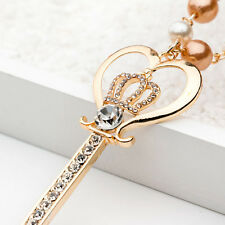 Women Pearl Crystal Key Crown Pendant Long Chain Necklace Jewelry