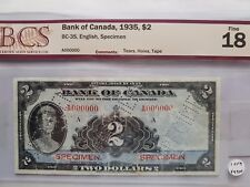 """🍁 1935 $2 SPECIMEN Bank of Canada BC-3S CERTIFIED """"CHOICE Fine 18"""" Super Scarce"""