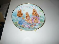 Vintage 1992 Easter Plate, Avon, Colorful Moments, 22K Gold Trim With Stand