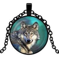 Collier pendentif imprimé tête de Loup, Chaine.