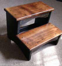 Handcrafted Heavy Duty Step Stool, Wood Bedside Bedroom Kitchen Kids, Black Brwn