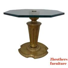 vintage French regency gold glass top lamp end table pedestal stand hollywood