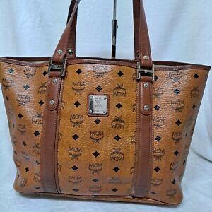 AUTHENTIC MCM Cognac Visetos   Shoulder Shopper Bag
