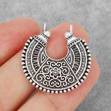 10Pcs Antique Silver Bohemia Boho Crescent Moon Flower Connectors Charms Pendant