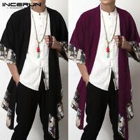 Homme Manteau chinois à manches raglan lâche à manches longues kimono 100% coton