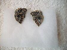 HEIDI DAUS Earrings Swarovski Crystals Onyx Amber Opal Bronzetone ClipOn NEW!