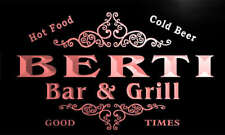 u03468-r BERTI Family Name Bar & Grill Cold Beer Neon Light Sign