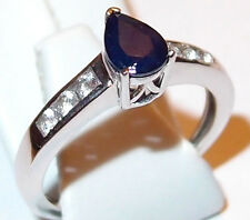 Kanchanaburi Sapphire & Topaz ring in platinum overlay Sterling Silver, Size N.