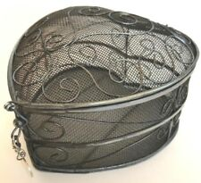 "Metal heart trinket vanity box silver mesh swirls engravable 5""x5""x3"" gift"