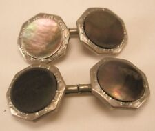 Hickok Double Sided Mother of Pearl Vintage Victorian Cuff Links gift d-18