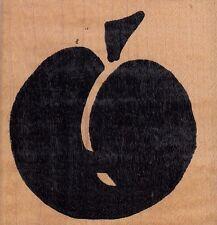 "stylized apple hot potatoes  Wood Mounted Rubber Stamp 2 1/2 x 2 1/2""  Free Ship"