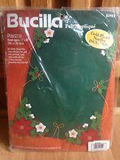 Bucilla Vintage Felt Appliqué Poinsettia Table Runner 15x40 Christmas Craft NEW