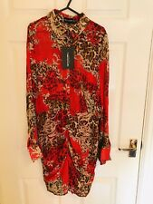 Red Multi Floral Patterned PLT Pretty Little Thing Shirt Dress Size 14 (A754)