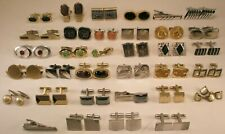-34 LOT Vintage 30 pair Cuff Links & 4 Tie Bar Clips swank hickok anson (34c)