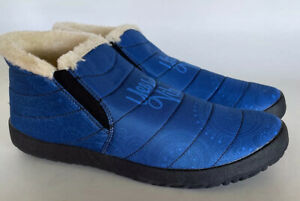 Yes We Vibe Mens Winter Sneaker Slippers (SIZE 10.5) Rubber Sole Blue