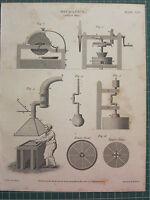 1814 Datato Antico Stampa ~ Meccanici Colore Mulino Vari Equipment Sezione