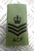 Genuine British Army OD Green ACF Staff Sergeant Rank Slide /Epaulette NEW